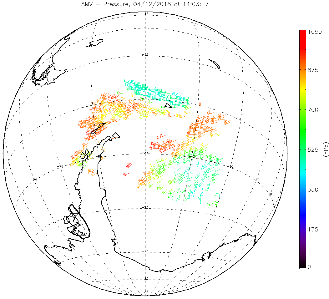 Example of Metop-C AVHRR Atmospheric Motion Vectors single wind product