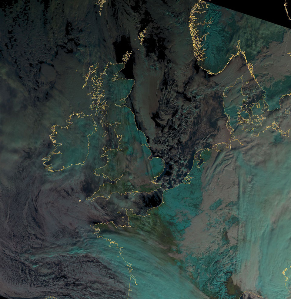 Metop-B AVHRR image of snow over Europe on 16 January.