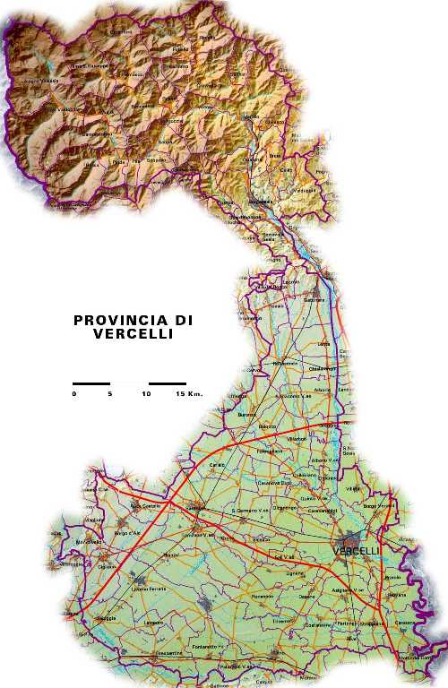 Map showing province of Vercelli in Northern Italy