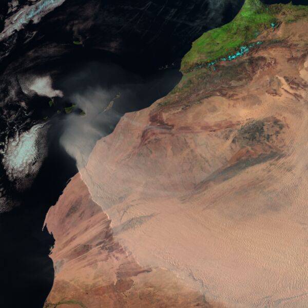 Dust storm over West Africa and the Canary Islands