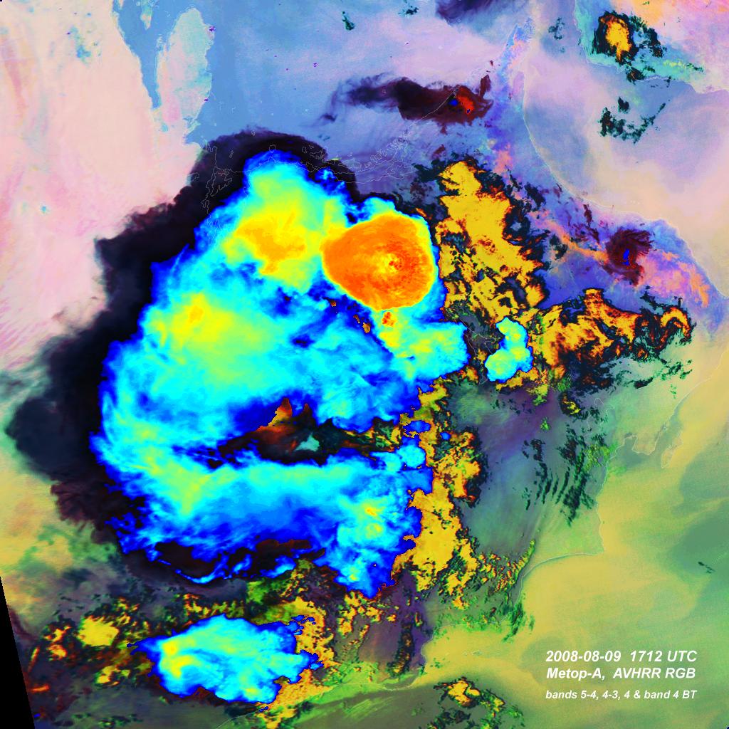 Metop-A, AVHRR, 9 August 2008, 17:12 UTC