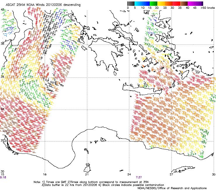 ASCAT 25 km NOAA winds, 6 Feb, morning