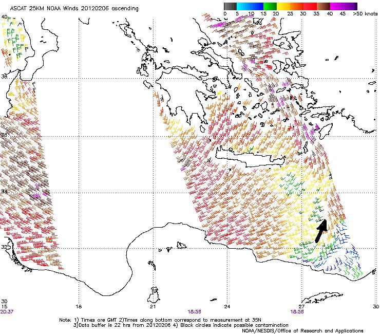 ASCAT 25 km NOAA winds, 6 Feb, evening