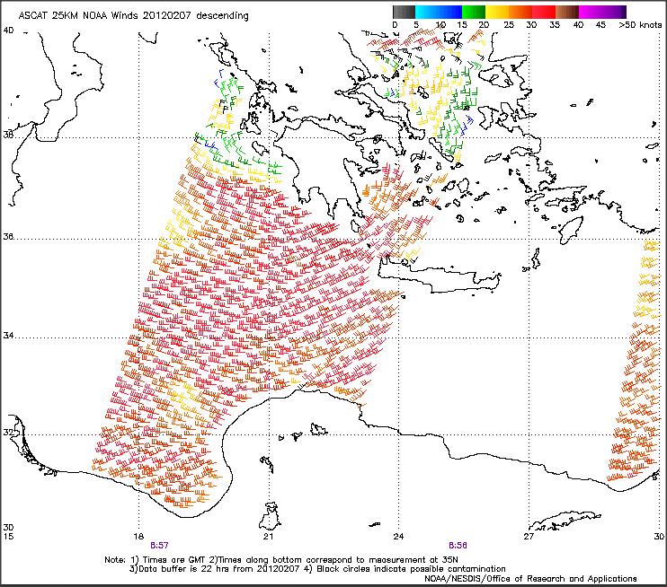 ASCAT 25 km NOAA winds, 7 Feb, morning