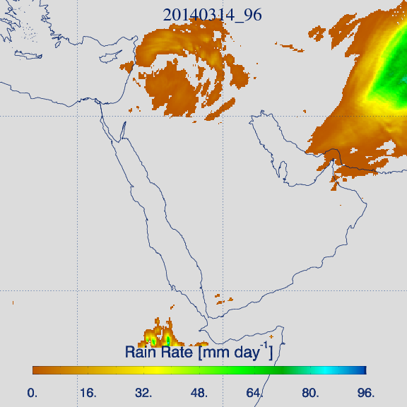 Accumulated 'IR-based' rain rate product for 14 March, 06:00–18:00 Local Time (Credit: KNMI).