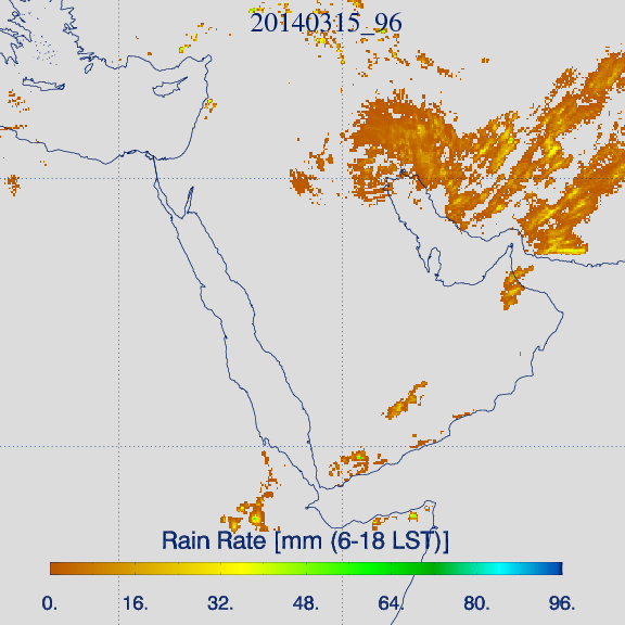 Accumulated 'microphysical' rain rate product for 15 March, 06:00–18:00 Local Time (Credit: KNMI).