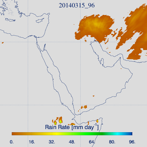 Accumulated 'IR-based' rain rate product for 15 March, 06:00–18:00 Local Time (Credit: KNMI).