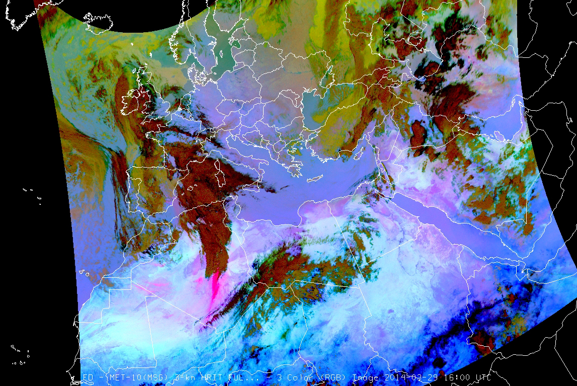 Dust RGB, 29 March, 16:00 UTC. The sandstorm is seen as intense pink on the image.