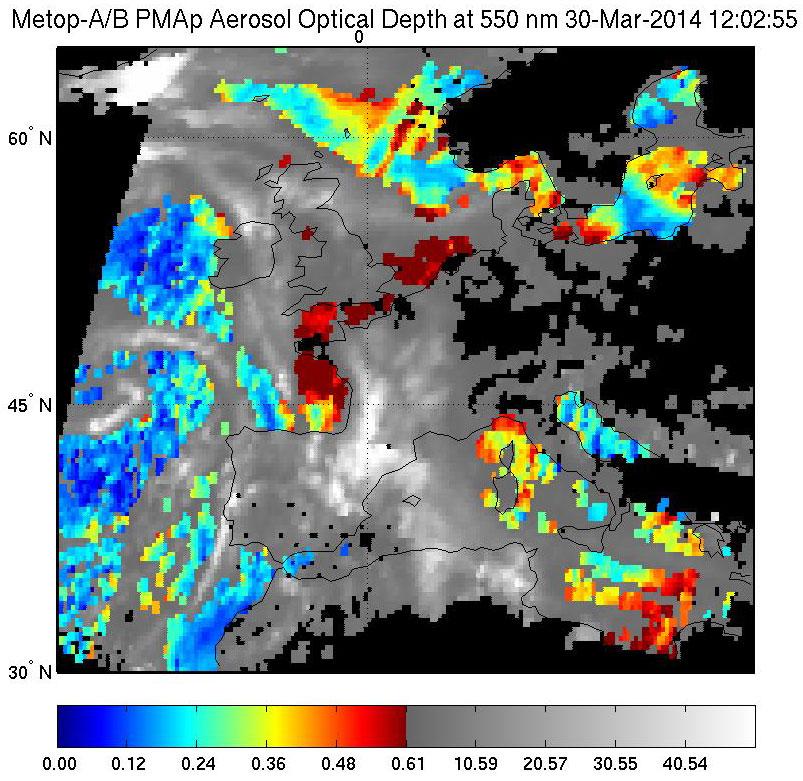 Aerosol optical depth (AOD), 30 March