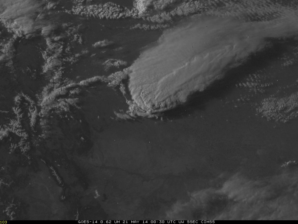 Supercell thunderstorm over Denver, GOES-14, 21 May 00:30 UTC (Credit: CIMSS/NOAA/NASA)
