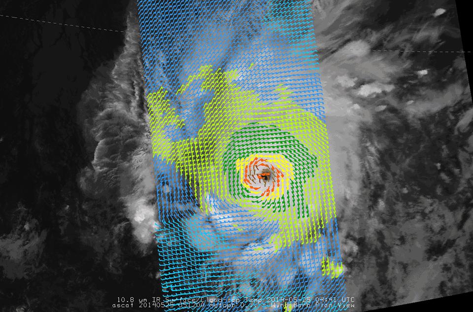 Metop-B and ASCAT, 25 May 2014, 04:41 UTC