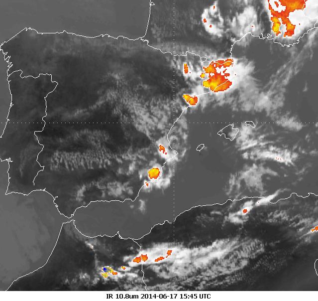 Enhanced infrared image, Meteosat-10 17 June 15:45 UTC