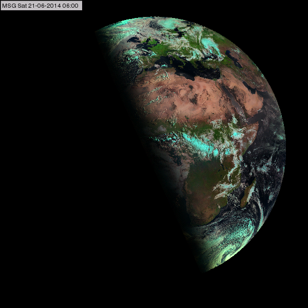 The Earth illuminated by the sun at the summer solstice at 06:00 UTC (Meteosat-10 Natural Colours RGB image, 21 June, 06:00 UTC)