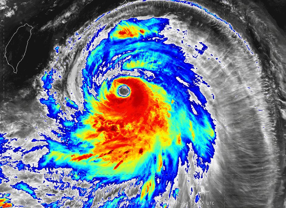 Metop-B infrared image of Super Typhoon Neoguri, 07 July, 00:40 UTC