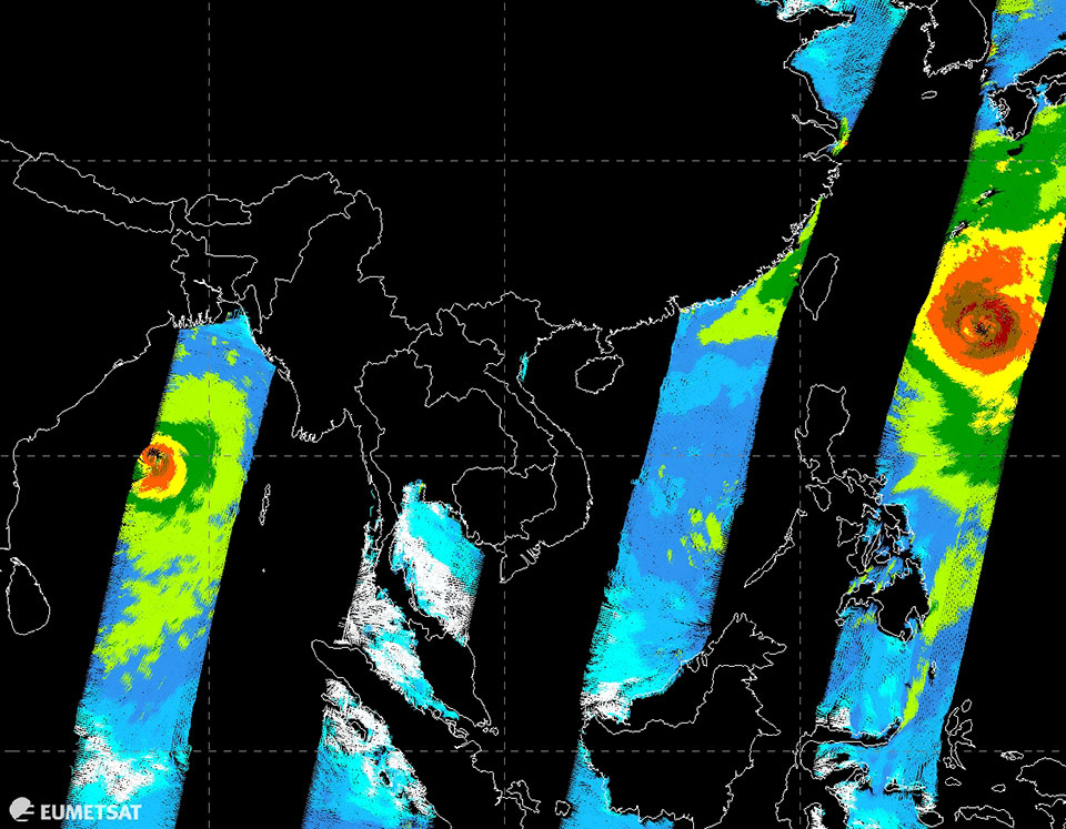 Metop-A/B with ASCAT passes composite image of two tropical cyclones