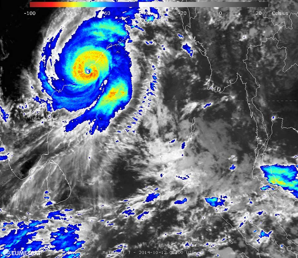 Met-7 enhanced IR, 12 October 2014, 06:00 UTC