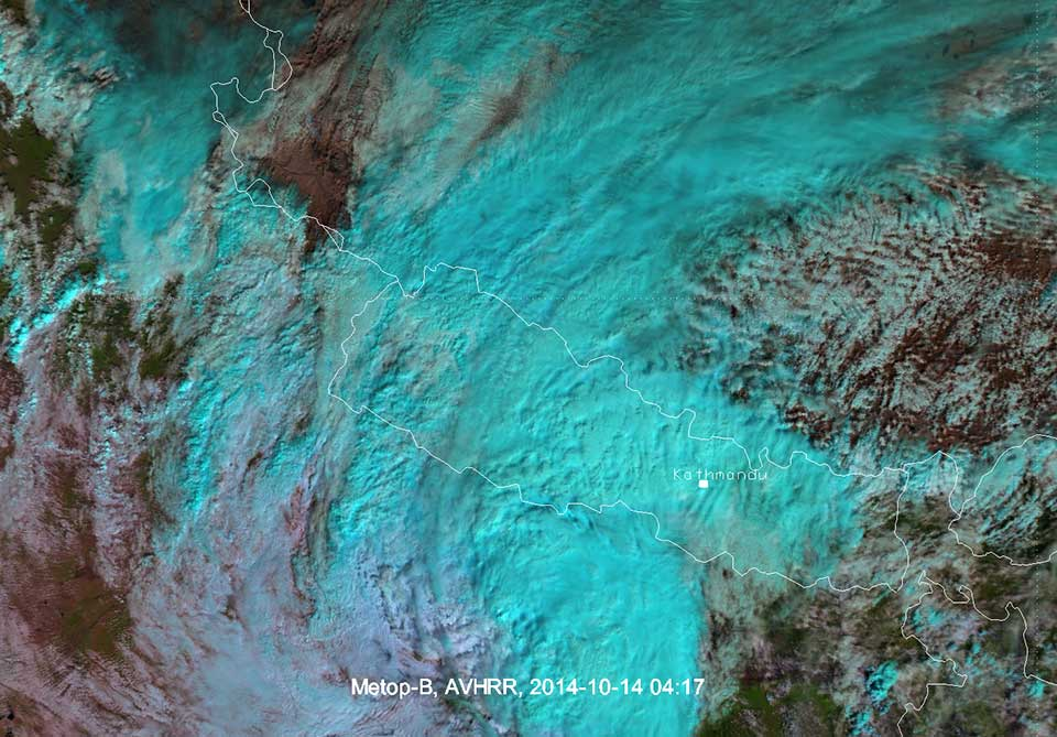 Metop AVHRR image from 14 October 04:17 UTC