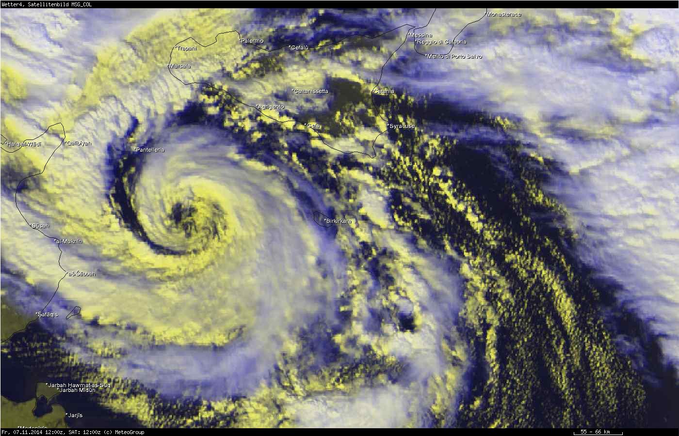 Meteosat-9 RGB, 7 November 12:00 UTC (source: RGB images created by MeteoGroup)