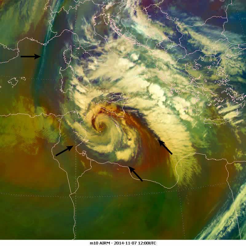 Met-10 Airmass RGB, 7 Nov 12:00 UTC
