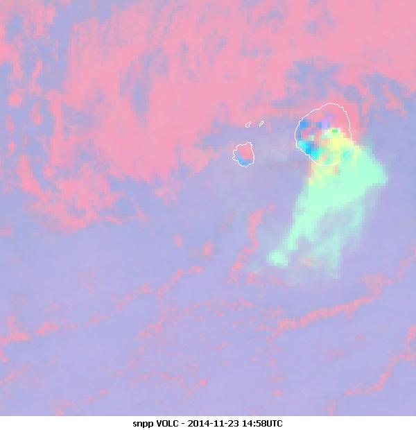 S-NPP VIIRS Volcanic Ash/SO2 RGB 750 m resolution, 23 November 2014, 14:58 UTC