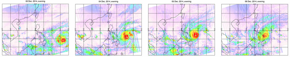 IASI tracking of Typhoon Hagupit from 3 to 6 December 2014