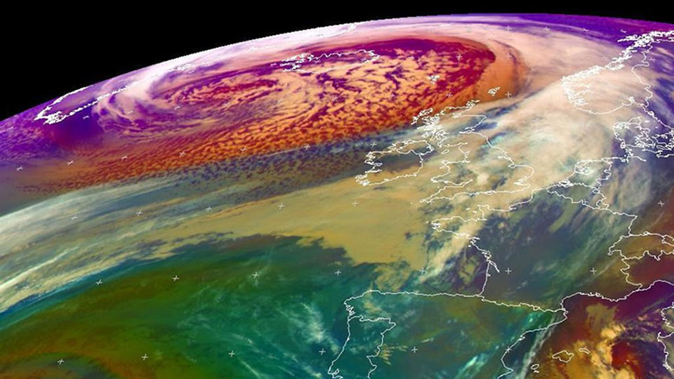 Meteosat-10 Airmass RGB showing the cyclone over the North Atlantic, 9 December 16:00 UTC