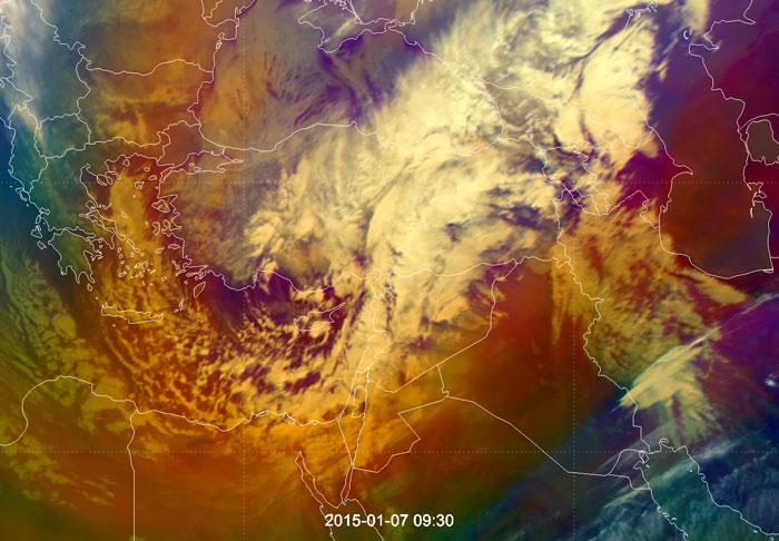Meteosat-10 Airmass RGB of the Eastern Mediterranean