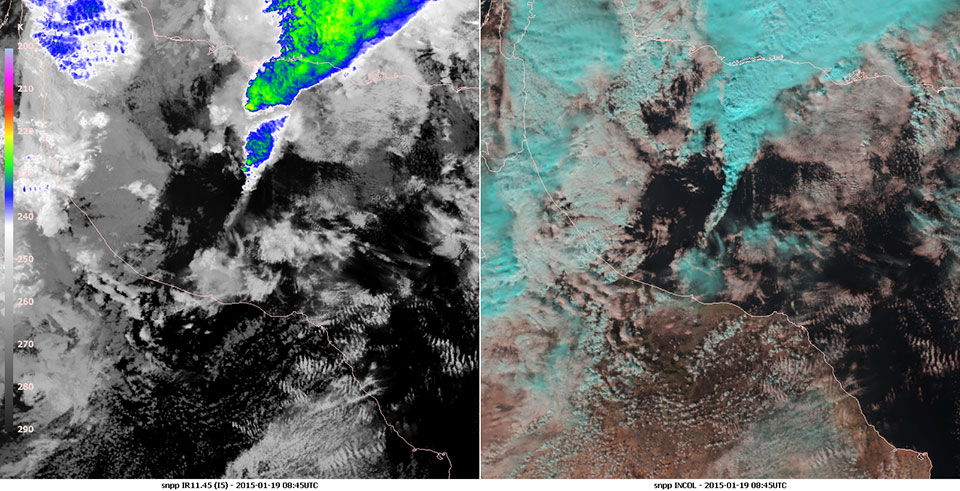 Suomi-NPP imagery (with the IR11.45 band (I5)) and Natural Colour RGB imagery, 19 January 08:45 UTC