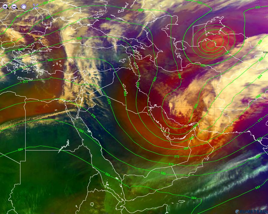 Meteosat-10, Airmass RGB and absolute topography 500 hPa from ECMWF model, 19 January 12:00 UTC (Credit: EUMeTrain