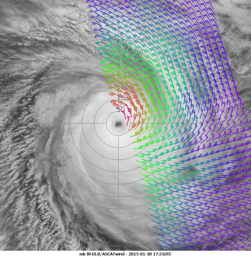 Metop-B IR10.8 with ASCAT winds overlaid, 30 January 17:21 UTC