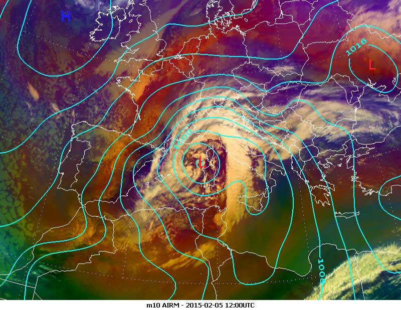 Meteosat-10 Airmass RGB, 5 February 12:00 UTC