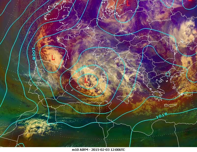 Meteosat-10 Airmass RGB, 3 February 12:00 UTC