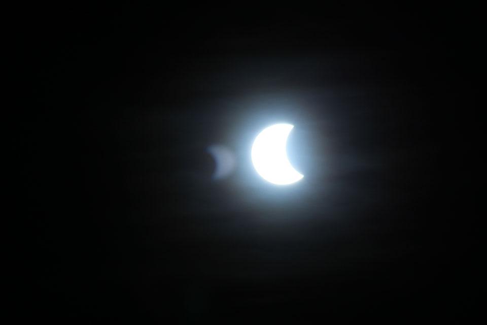 Start of the eclipse in Edinburgh. Credit: Debbie Richards