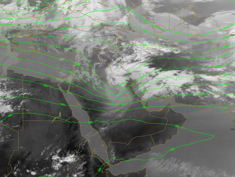 Low pressure system apparent from the geopotential field at 500 hPa, 1 April 12:00 UTC