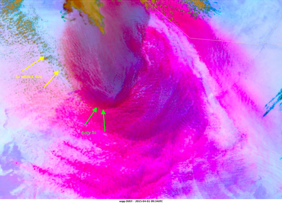 Suomi-NPP Dust RGB, 1 April 09:34 UTC