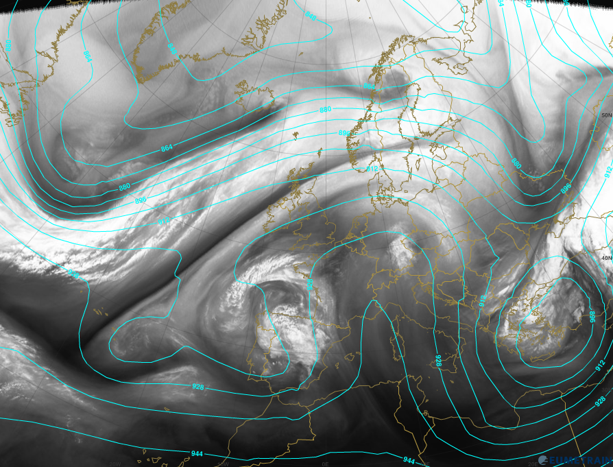 WV6.2 image with the absolute topography at 300 hPa overlaid (ECMWF model) (Credit: EUMeTrain).