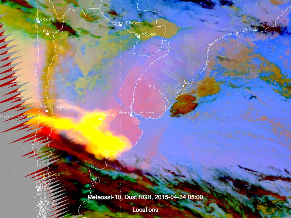 Meteosat-10 DUST RGB, 24 April 05:00 UTC, showing the ash plume in yellow