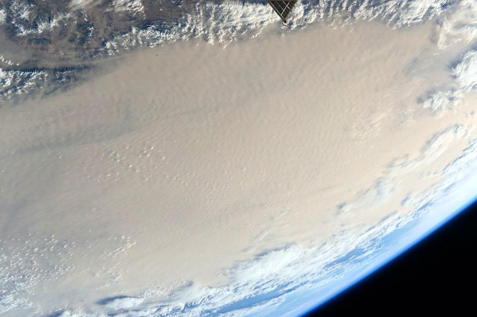 Dust over the desert, taken by NASA astronaut Scott Kelly from the International Space Station