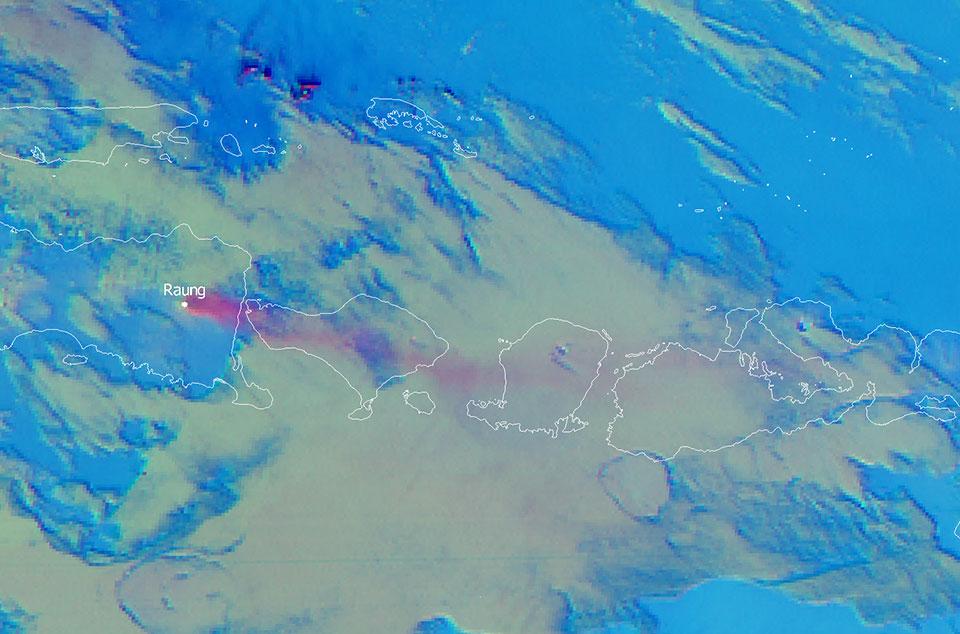 Himwari-8 Volcanic Ash RGB, 9 July 08:00 UTC
