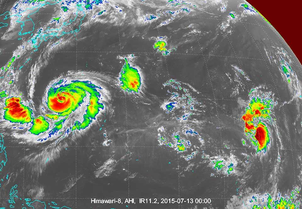 Himawari-8 infrared, 13 July 00:00 UTC