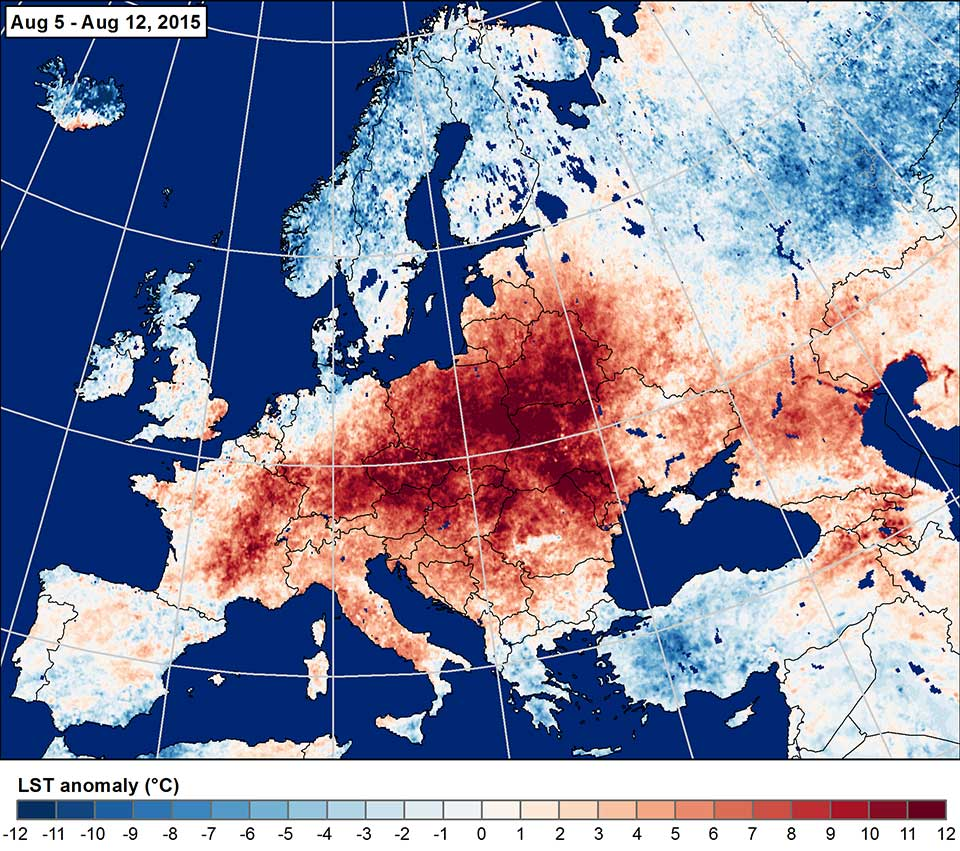 Land surface temperature anomaly 5–12 August, 2015. Credit: NASA.