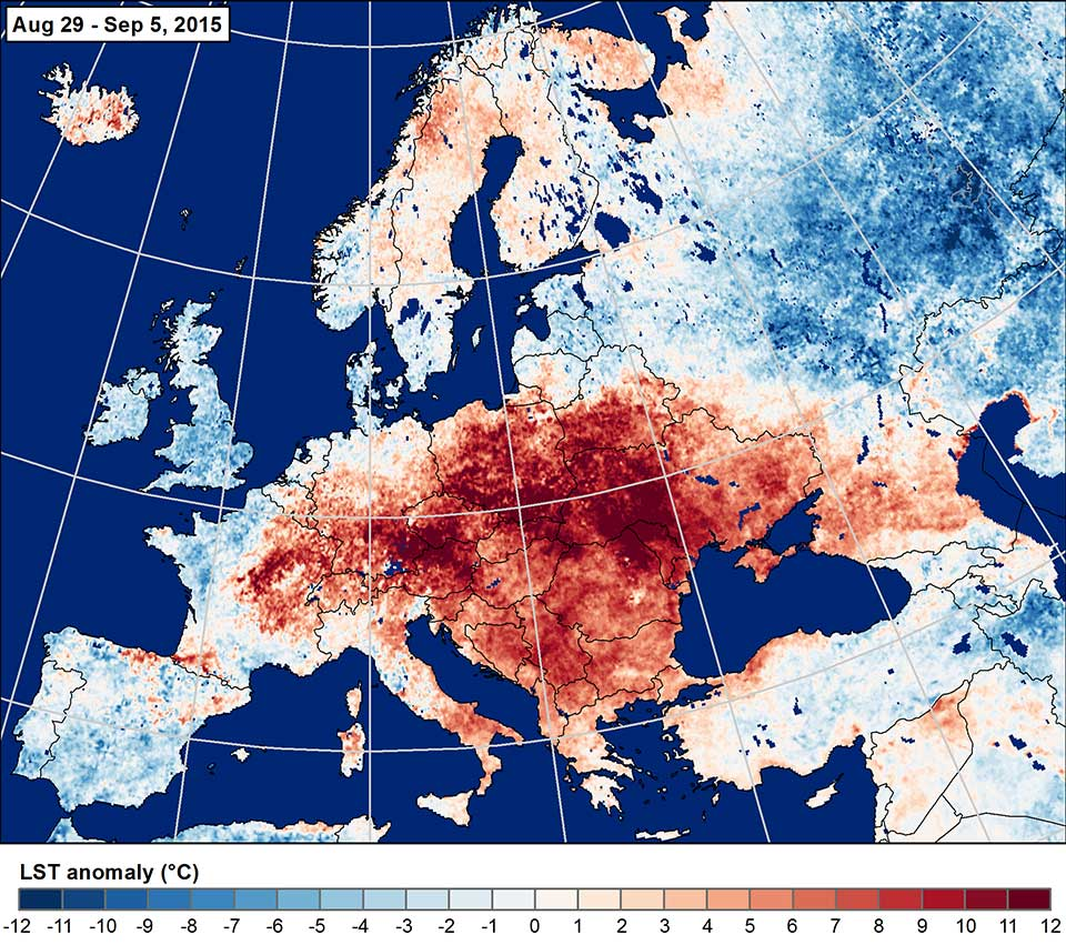 Land surface temperature anomaly 29 Aug–5 Sept, 2015. Credit: NASA.