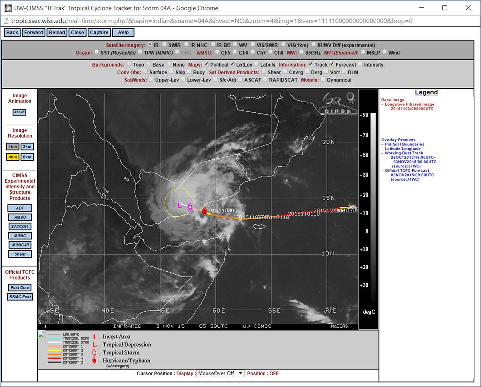 Track of Tropical Cyclone Chapala