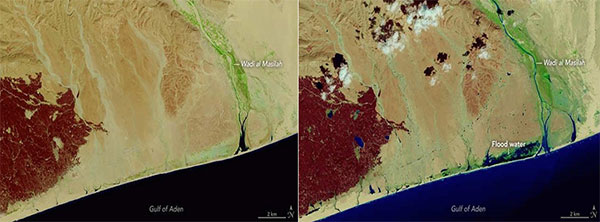 Before (19 Oct, 2015) and after (4 Nov, 2015) Landsat-8 satellite images of a flooded wadi and coastal area of Yemen resulting from Cyclone Chapala. (Credit: NASA Earth Observatory)