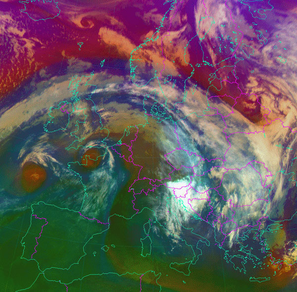 Figure 3: Meteosat-10 Airmass RGB, 10 November 09:00 UTC