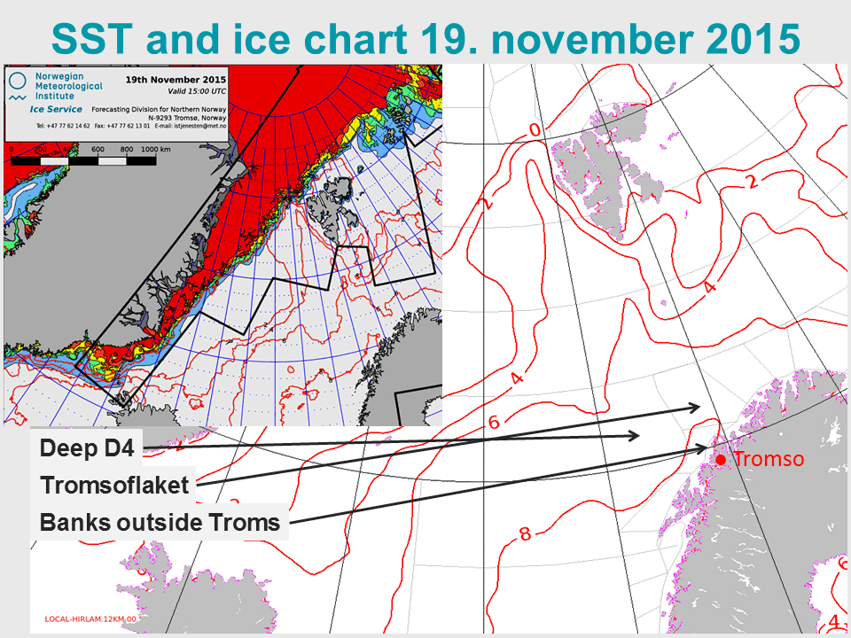 Sea surface temperatures and ice chart, 19 Nov