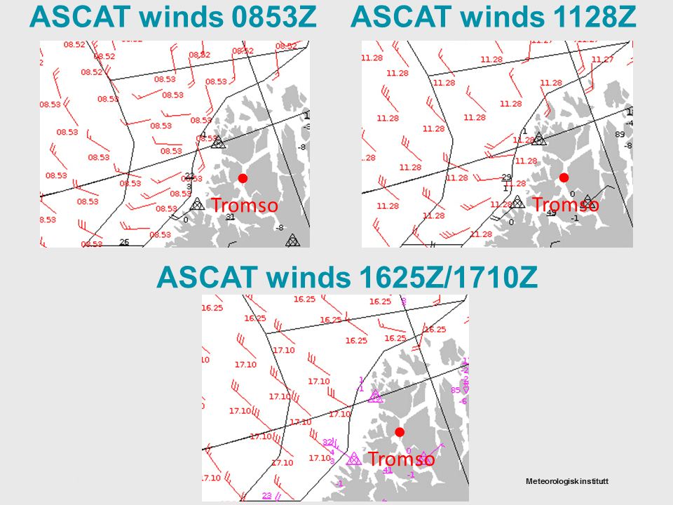ASCAT winds for 20 Nov. The red arrows are the actual ASCAT wind observations.