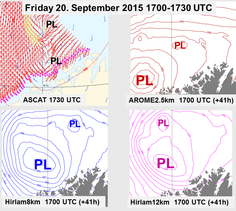Upper left: ASCAT winds. Upper right: +41h isobars from AROME. Lower left: +41h isobars from Hilam8km. Lower right: +41h isobars from Hirlam12km.