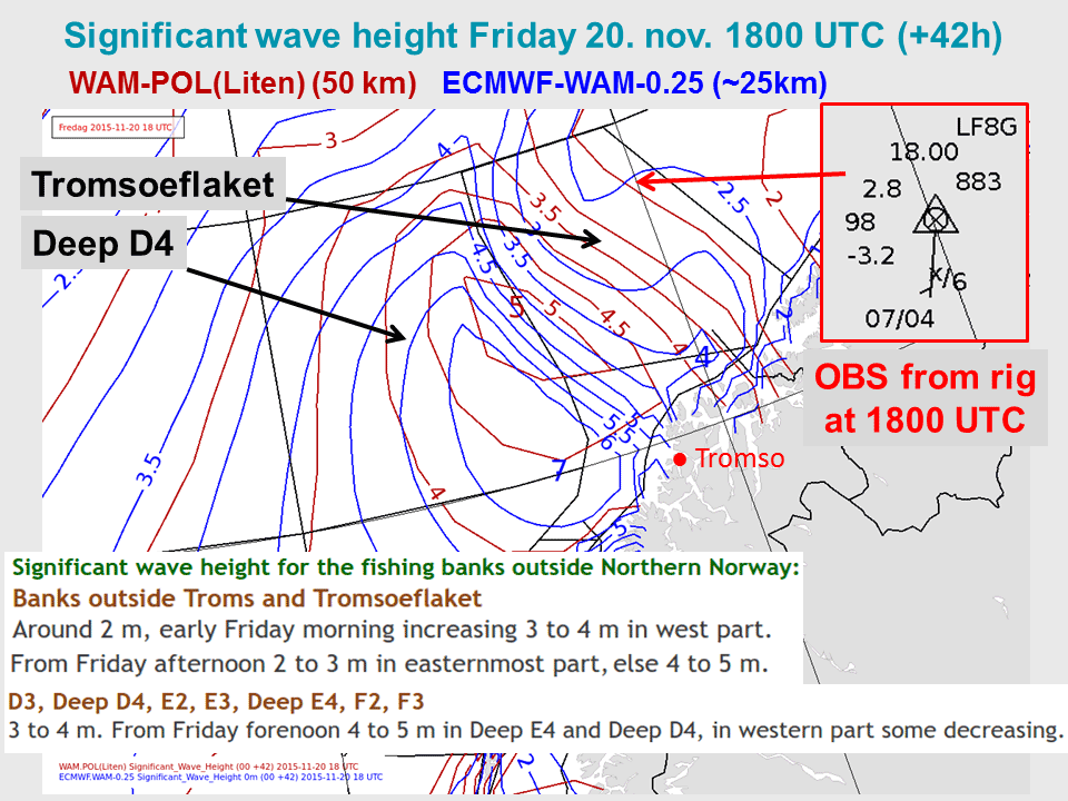 Dark red isolines: significant wave height from a wave model (WAM) with 50 km horizontal resolution. Blue isolines: significant wave height from a EC wave model with 25 km horizontal resolution.