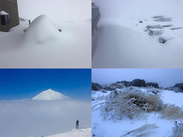 Unusual, heavy snowfalls in the Canary Islands